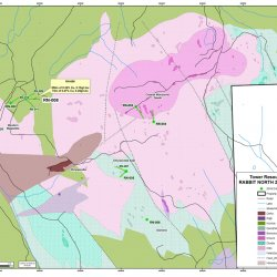 Rabbit North 2016 Drillhole Plan Map with Surface Geology